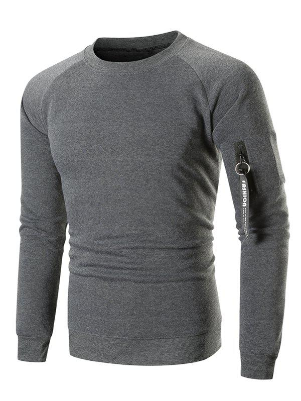 Raglan Sleeve Ribbon Pocket Fleece Sweatshirt - DARK GRAY XL