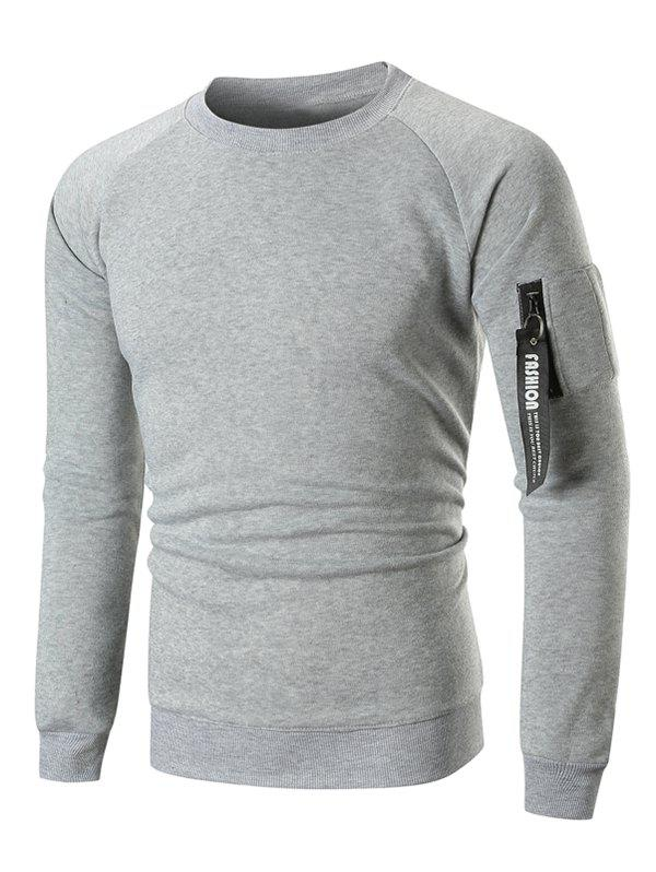 Raglan Sleeve Ribbon Pocket Fleece Sweatshirt - LIGHT GRAY L