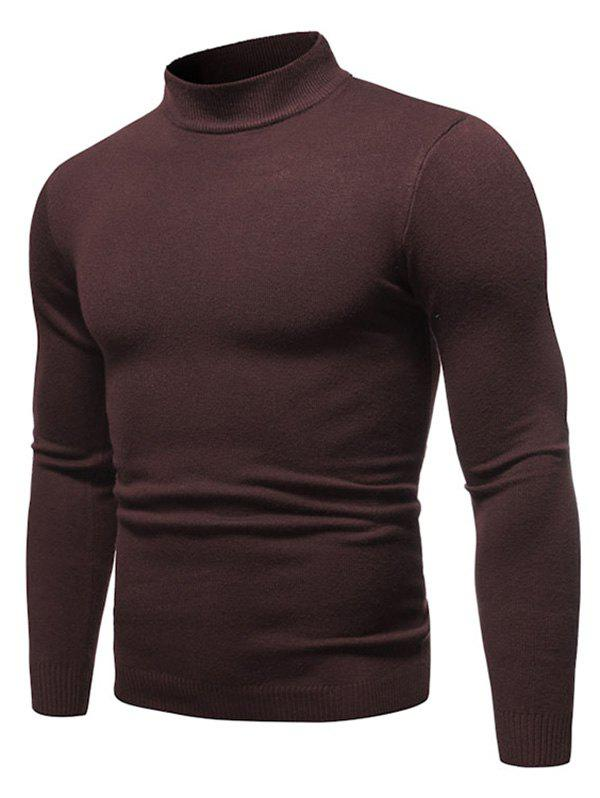 Solid Color Mock Neck Pullover Sweater - COFFEE XL