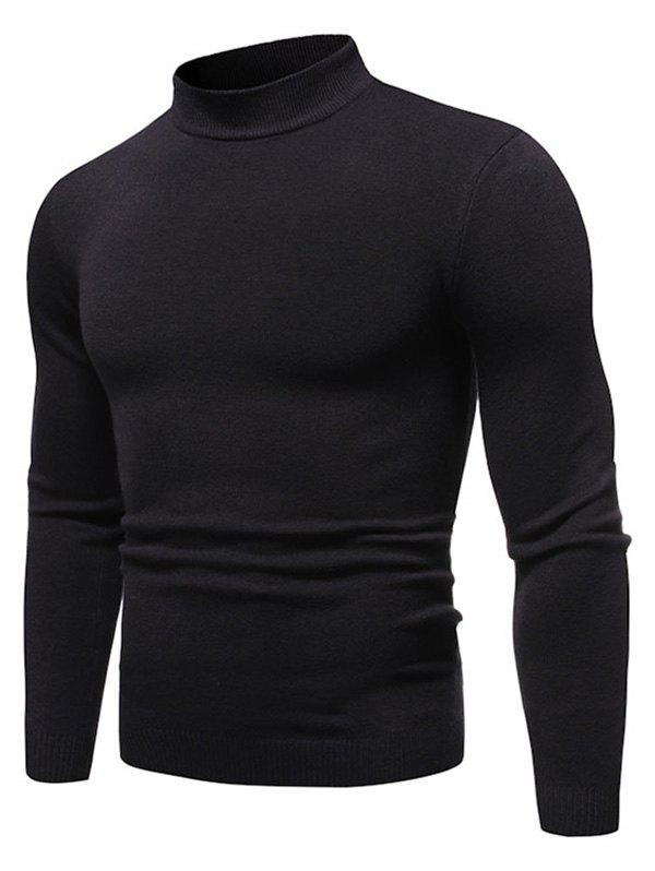 Solid Color Mock Neck Pullover Sweater - DARK GRAY M