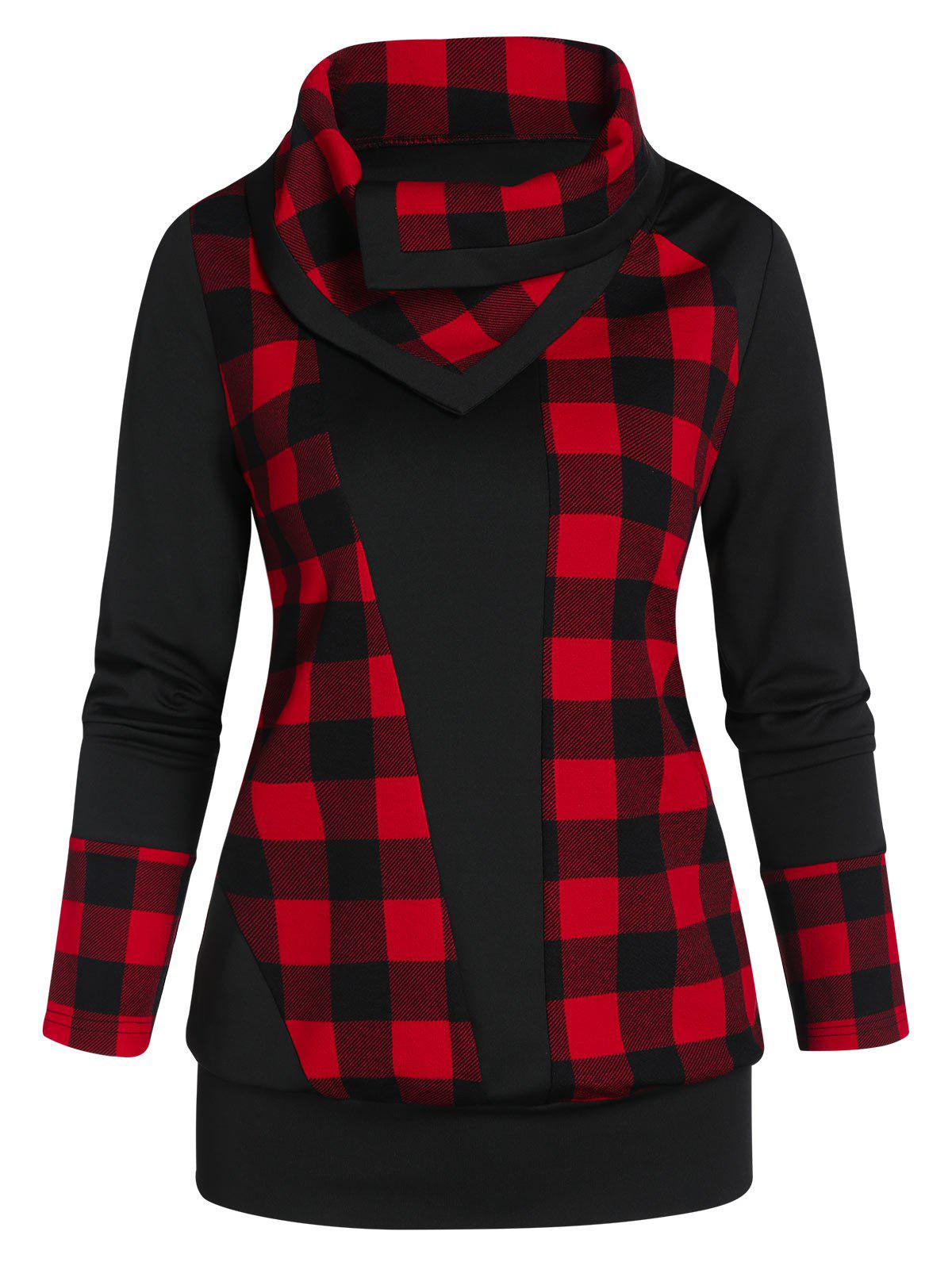 Plaid Sweatshirt - BLACK XL