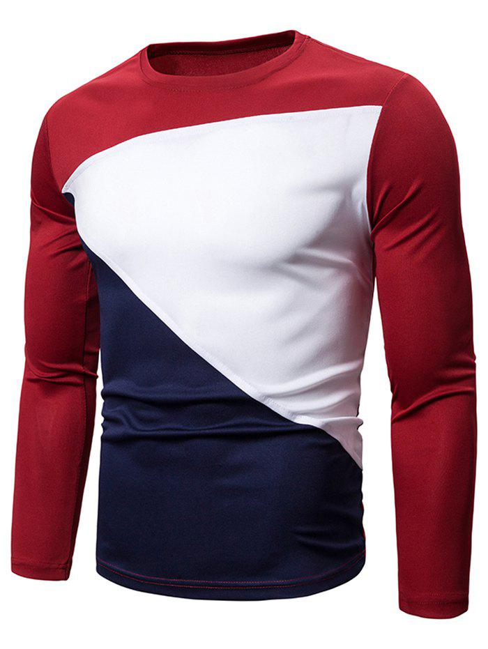 Color Blocking Spliced Long Sleeve T-shirt - RED WINE 2XL