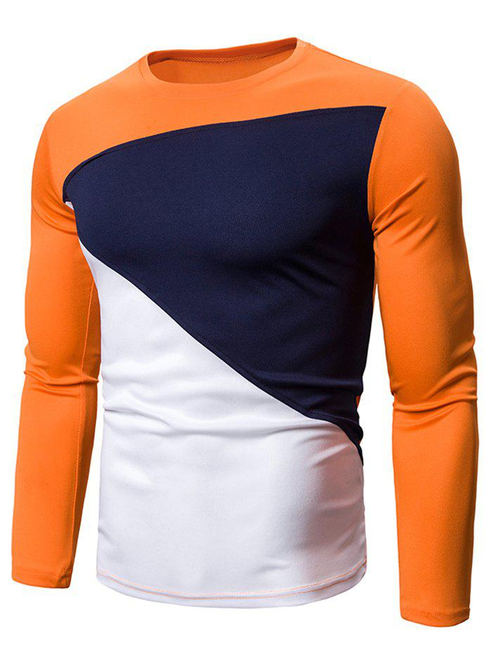 Color Blocking Spliced Long Sleeve T-shirt - ORANGE M