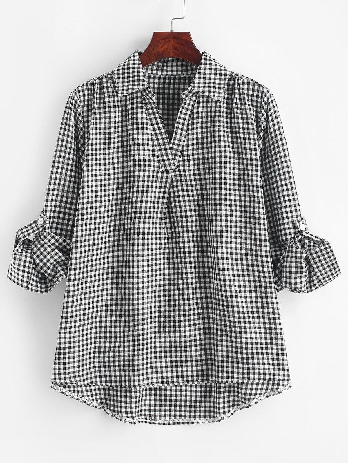 Plus Size Roll Up Sleeve Checked Blouse - BLACK 1X