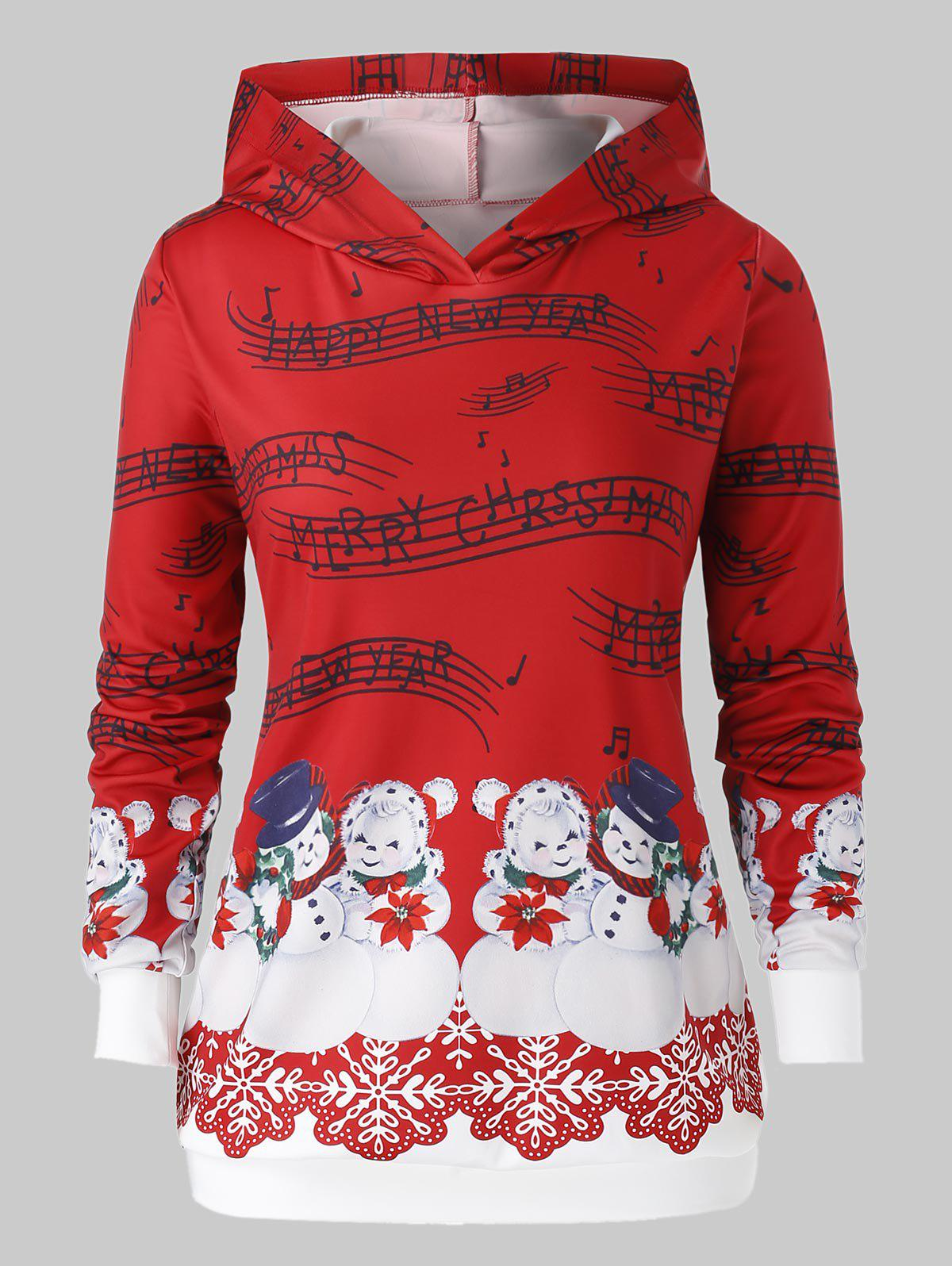 Plus Size Musical Notes Snowman Print Christmas Hoodie - CHESTNUT RED 3X