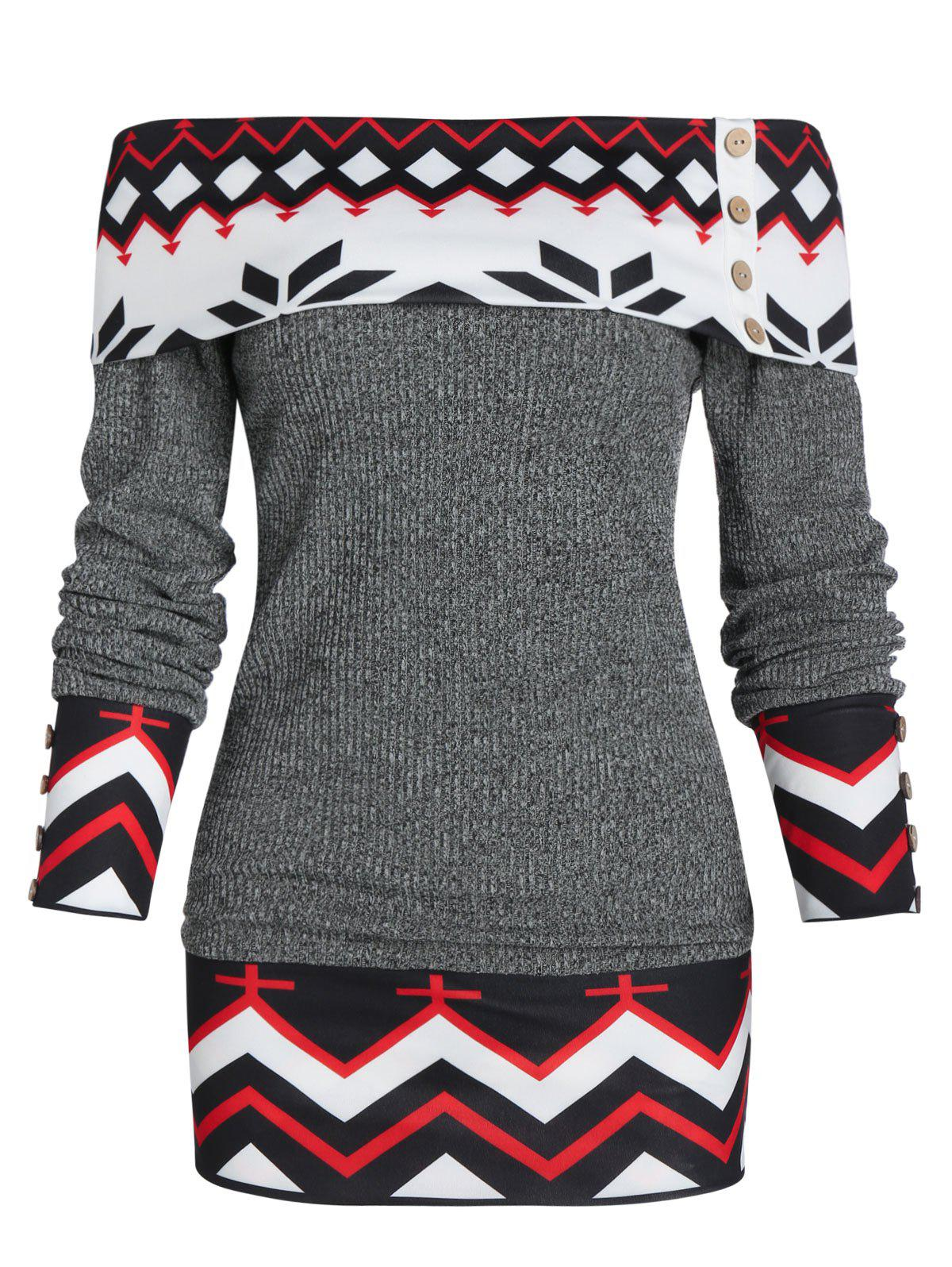 Geometric Off The Shoulder Foldover Knitted Sweater - GRAY L