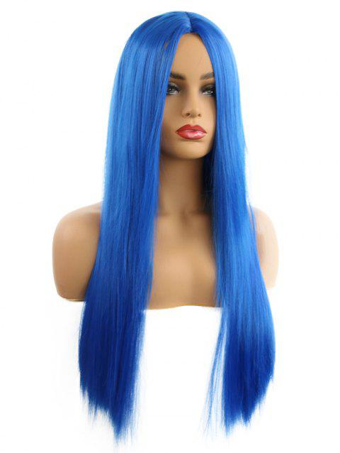 Synthetic Center Part Long Straight Cosplay Wig - BLUEBERRY BLUE