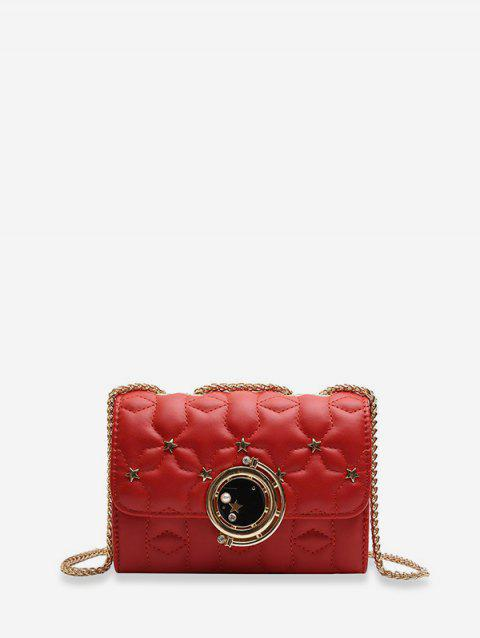 Star Pattern Square Chain Shoulder Bag - RED