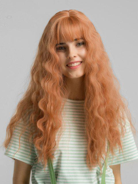 See-through Bang Fluffy Wave Synthetic Long Wig - ORANGE