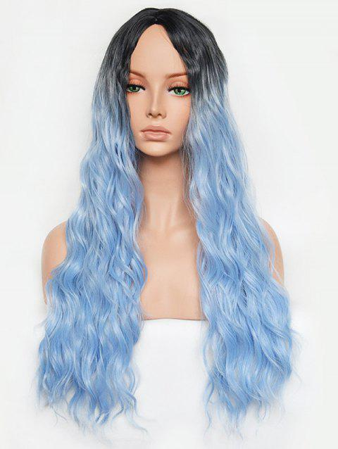Ombre Synthetic Wavy Long Center Part Wig - DAY SKY BLUE 24INCH