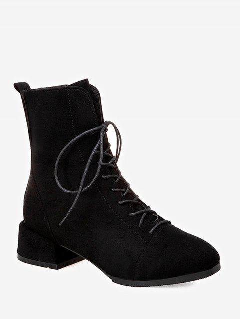 Plain Lace Up Suede Ankle Boots - BLACK EU 41