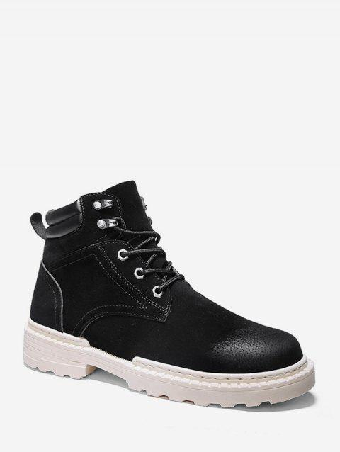 Low Heel Lace Up Cargo Boots - BLACK EU 39