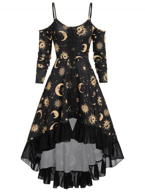 High Low Cold Shoulder Flounce Sun And Moon Print Gothic Dress by Dress Lily