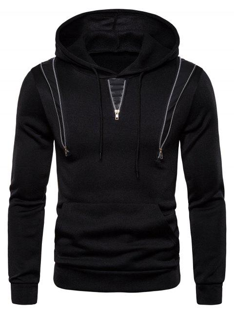 Zipper Decorated Color Spliced Casual Hoodie - BLACK 3XL