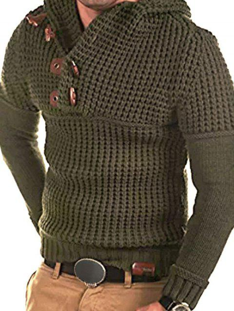 Horn Button Decoration Pullover Sweater