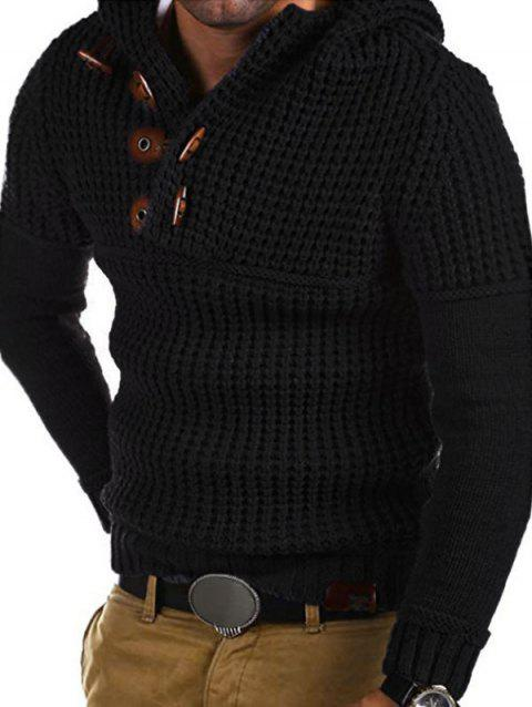 Horn Button Decoration Pullover Sweater - CADETBLUE M