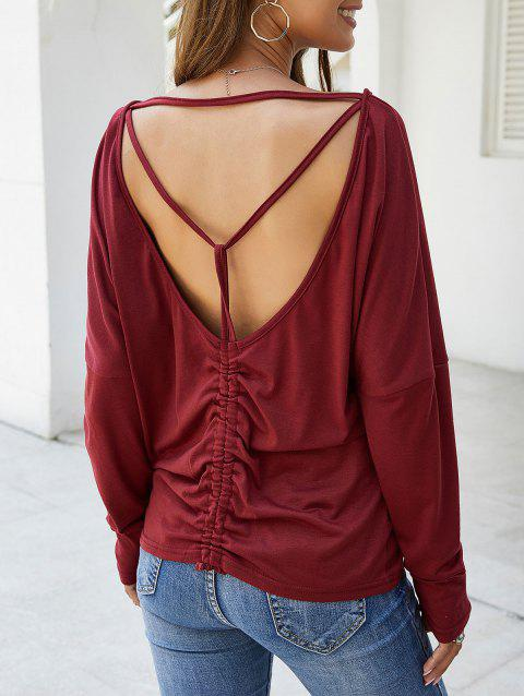 Open Back Cinched Solid Tee - RED WINE XL