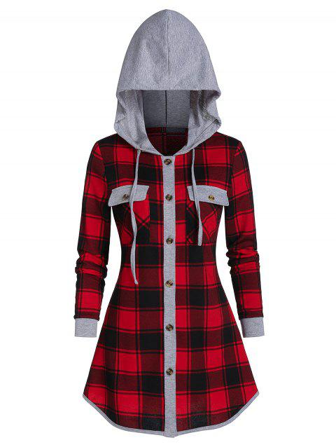 Xmas Women Plaid Check Patchwork Hooded Cowl Neck Long Sleeve Tops Sweater Shirt