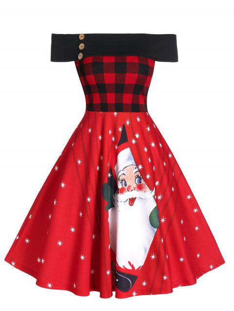 Christmas Off Shoulder Plaid Santa Claus Print Dress - RED XL