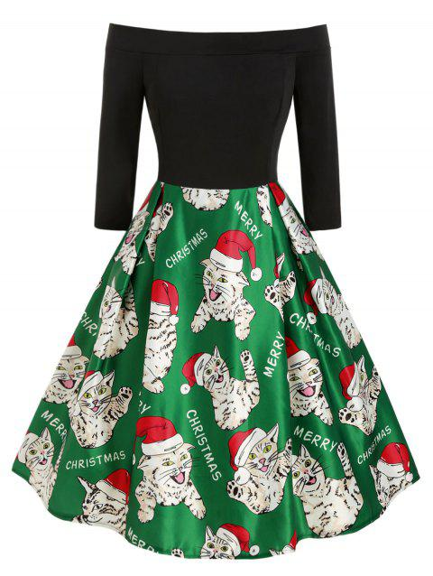 Plus Size Off The Shoulder Cat Print Christmas Dress