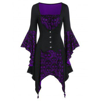 Halloween Skull Lace Insert Lace-up Handkerchief Faux Twinset Dress