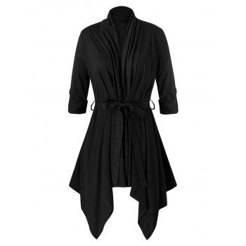 Plus Size Asymmetrical Open Front Belted Cardigan