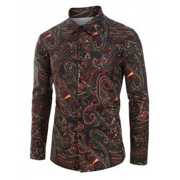 Plus Size Paisley Print Button Up Shirt