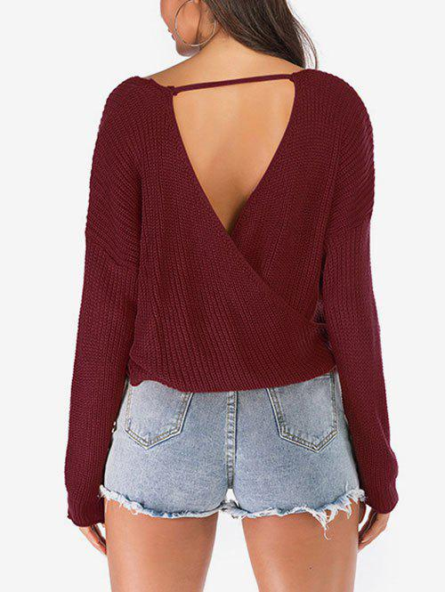Solid Color Loose Surplice Sweater - RED WINE L