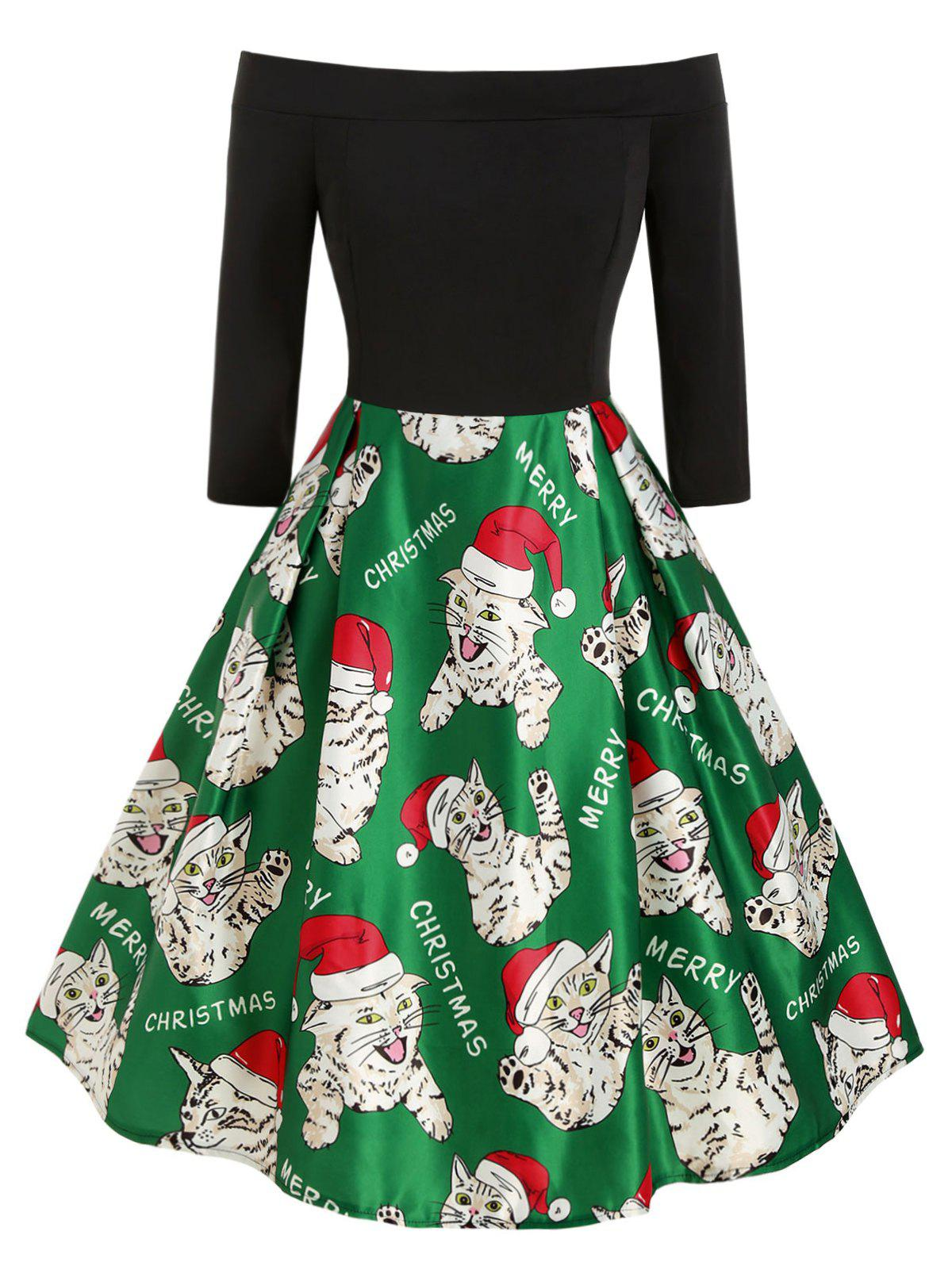 Plus Size Off The Shoulder Cat Print Christmas Dress фото
