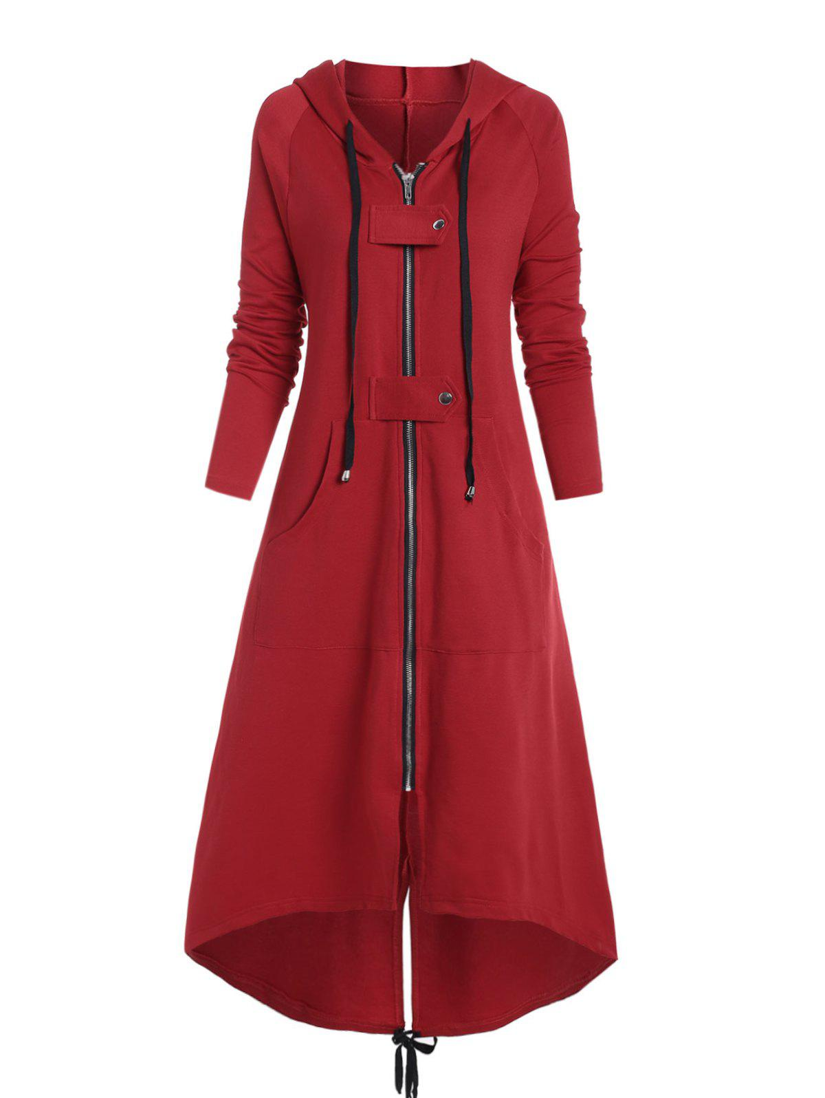 Plus Size Buckle High Low Long Coat - RED 2X