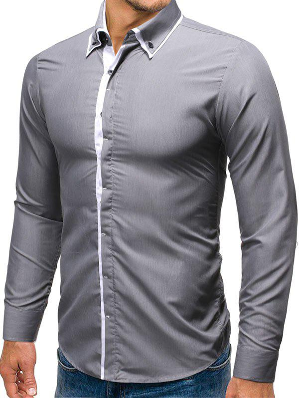 Long-sleeved Button down Shirt - GRAY M