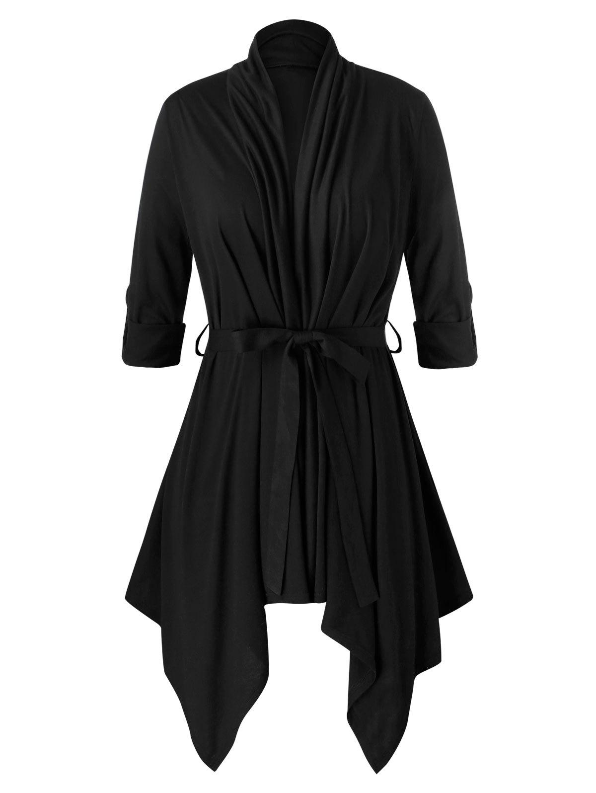 Plus Size Asymmetrical Open Front Belted Cardigan - BLACK L