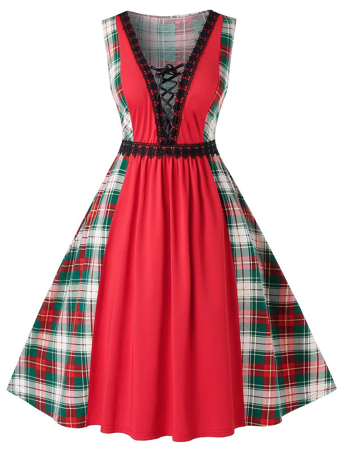 Plus Size Lace Up Plunge Plaid Vintage Swing Dress - multicolor A L