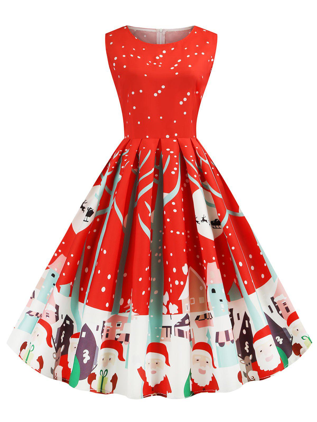 Santa Claus Snowflake Reindeer Sleeveless Christmas Dress - RED L