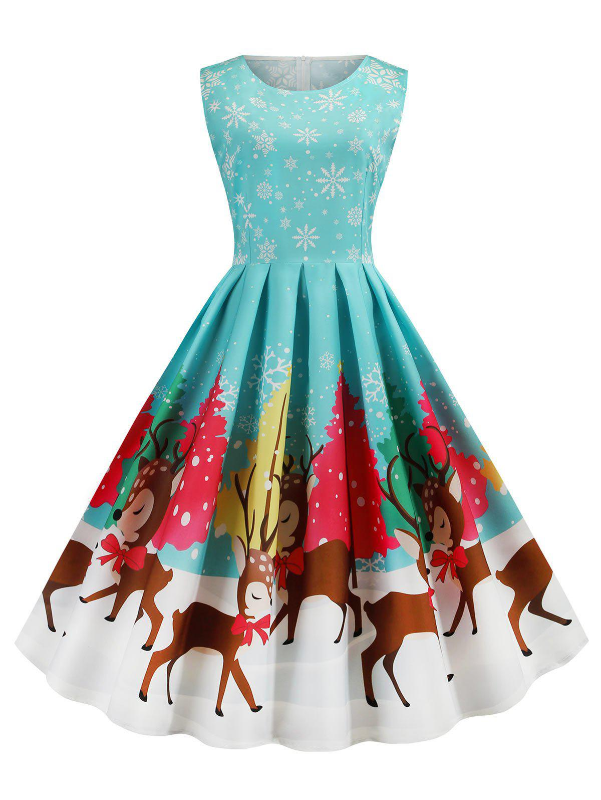 Santa Claus Snowflake Reindeer Sleeveless Christmas Dress - CRYSTAL BLUE S