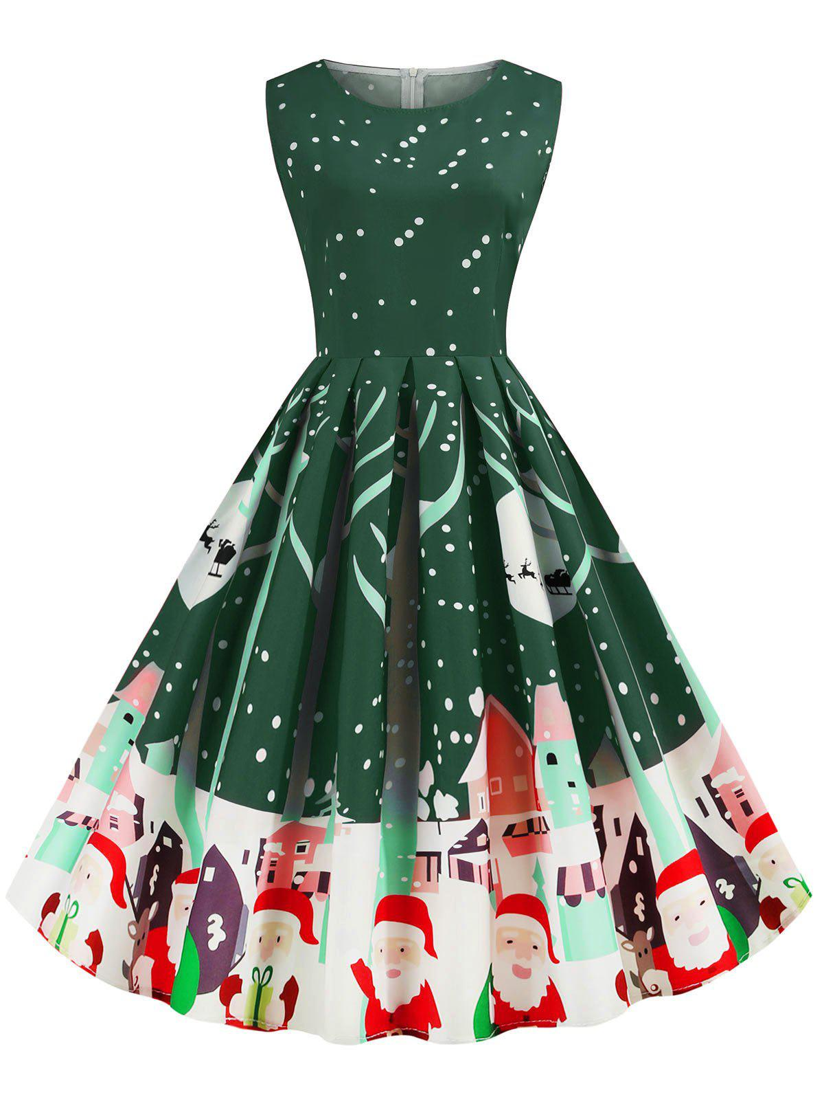 Santa Claus Snowflake Reindeer Sleeveless Christmas Dress - FERN GREEN M
