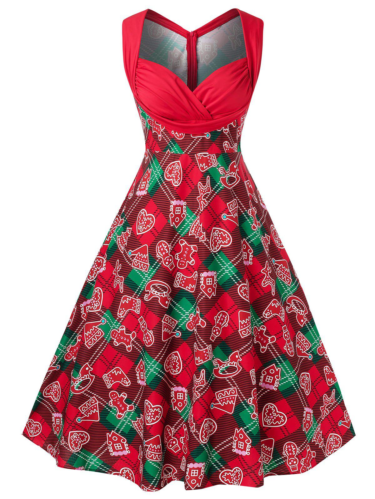 Plus Size Vintage Printed 1950s Dress - RED 1X