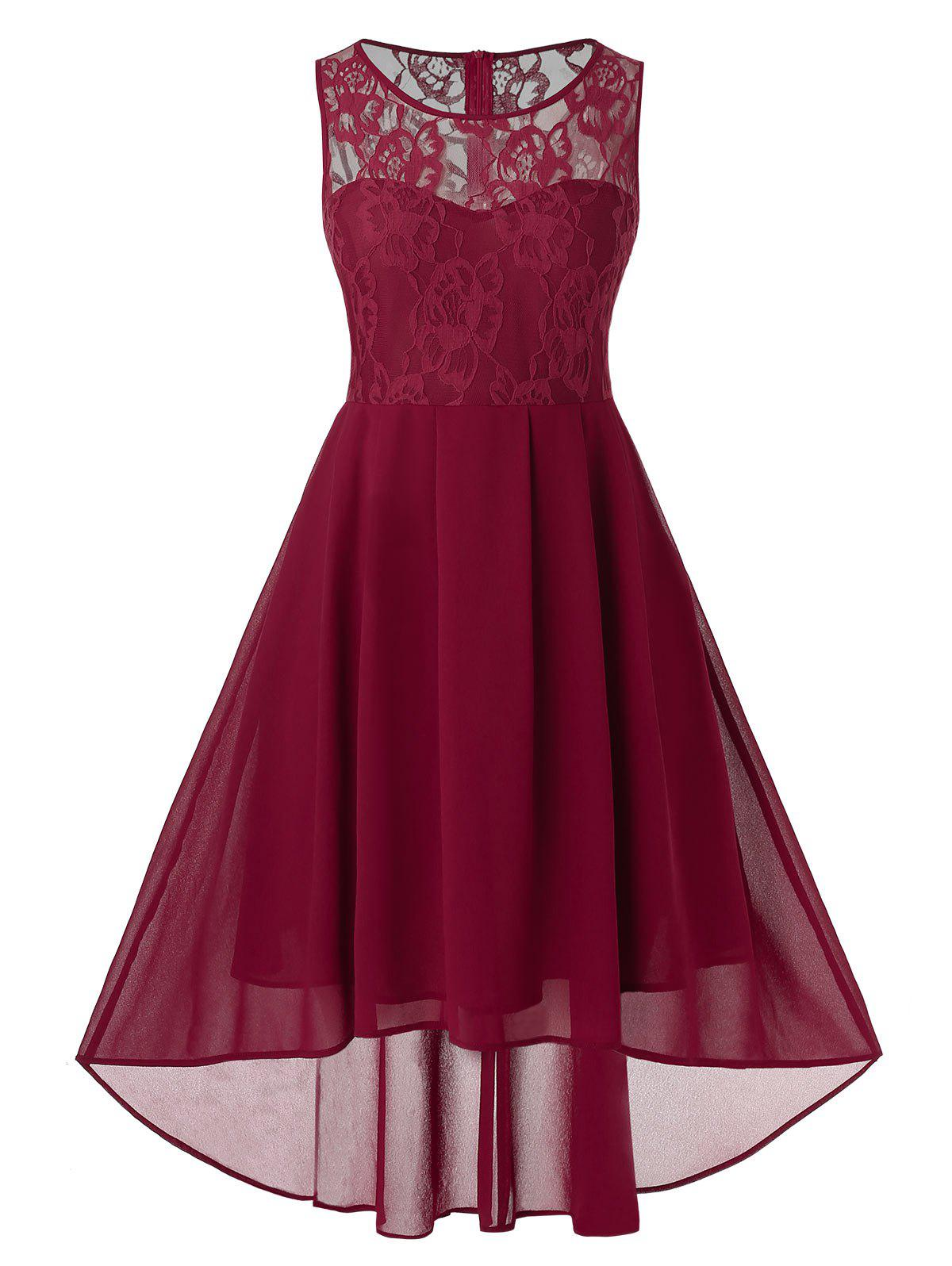 Plus Size Lace Insert High Low Fit and Flare Dress - RED WINE L