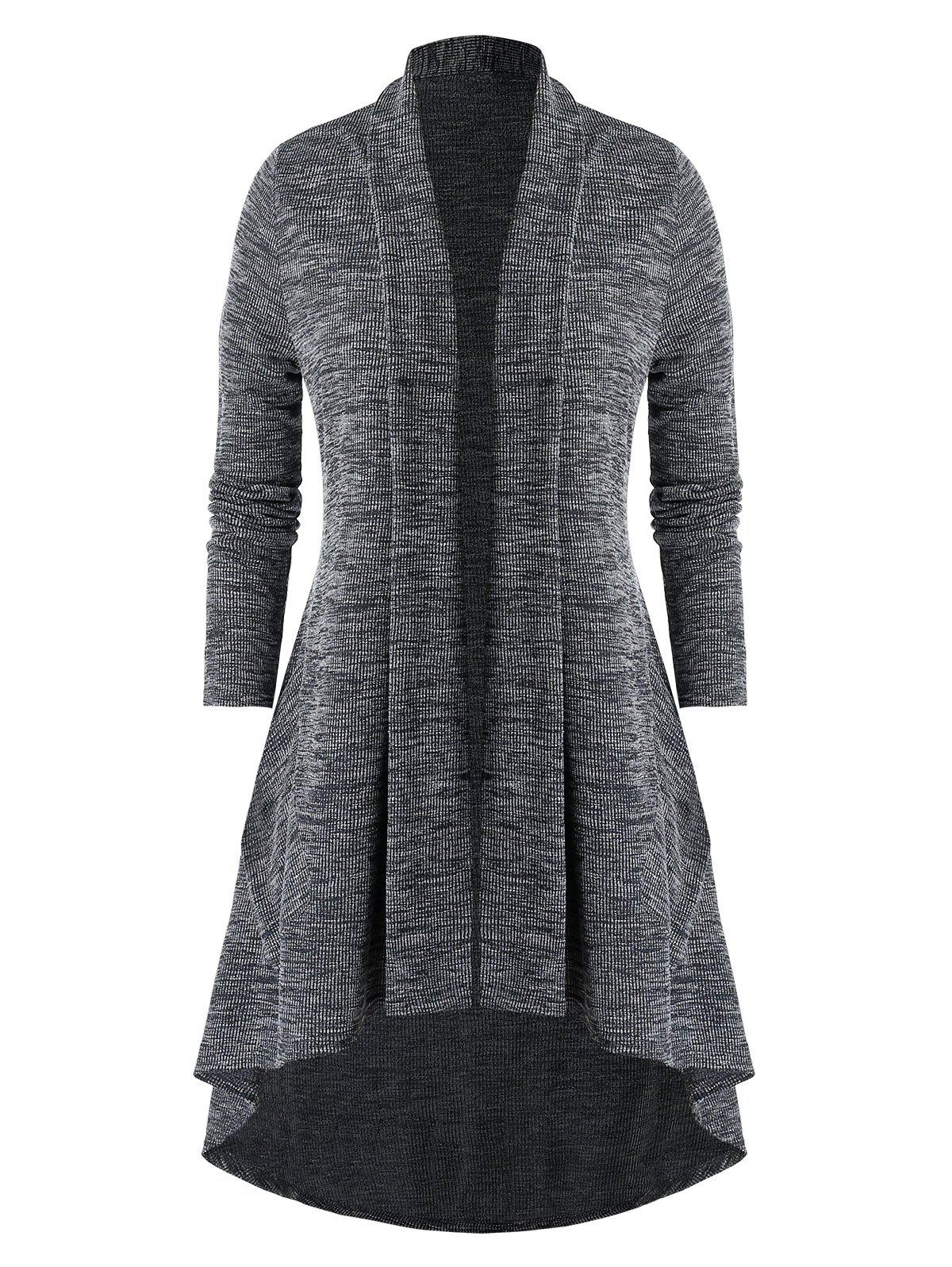 Plus Size Shawl Collar Open Front High Low Cardigan - CARBON GRAY 3X