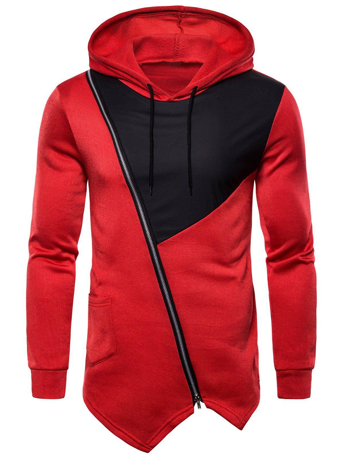 Zipper Decoration Drawstring Hoodie - RED 3XL
