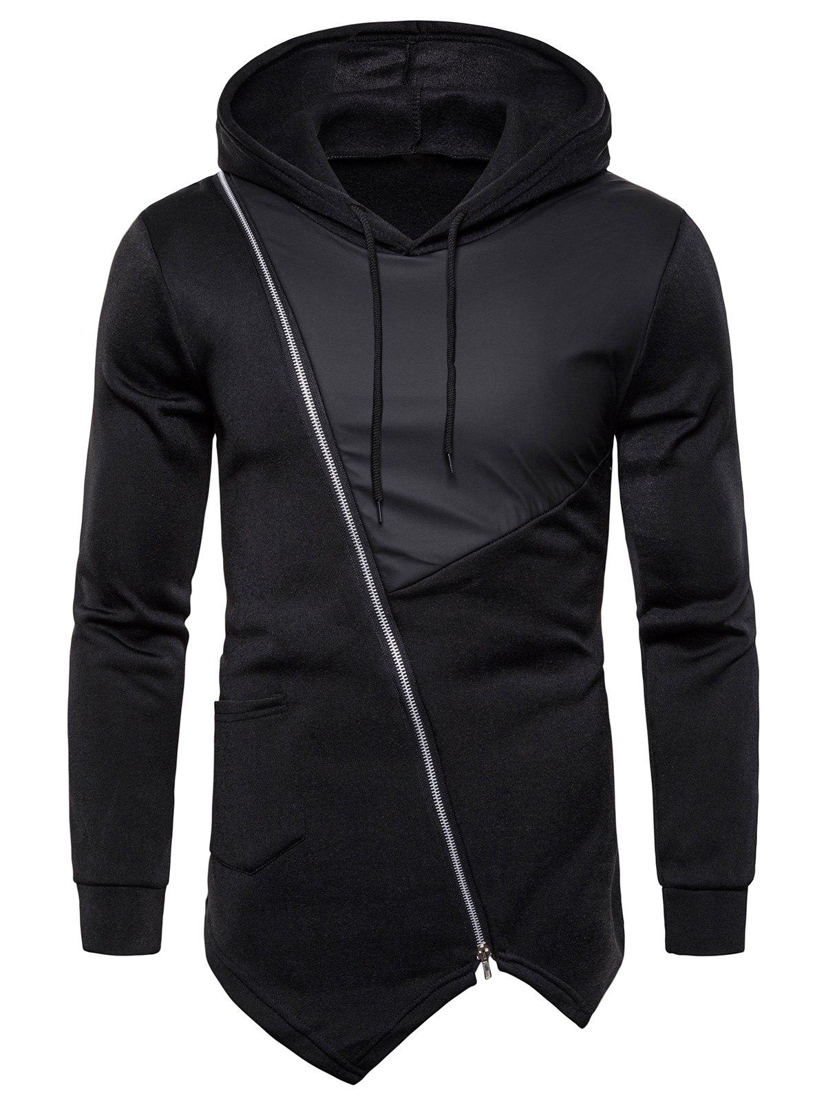 Zipper Decoration Drawstring Hoodie - BLACK XL