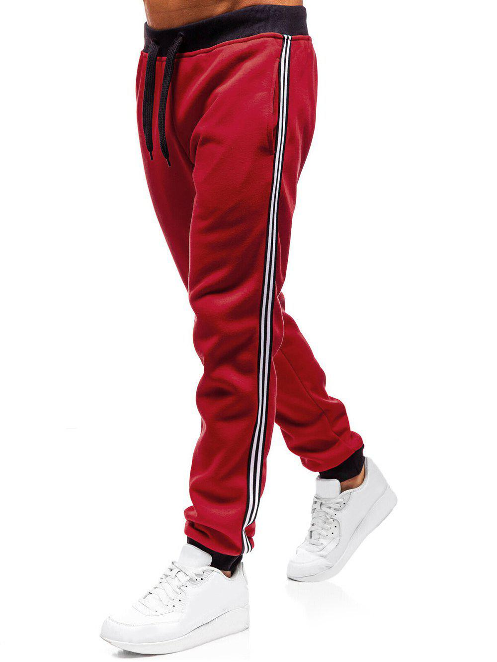 Contrast Stripe Trim Drawstring Sport Jogger Pants - RED XL