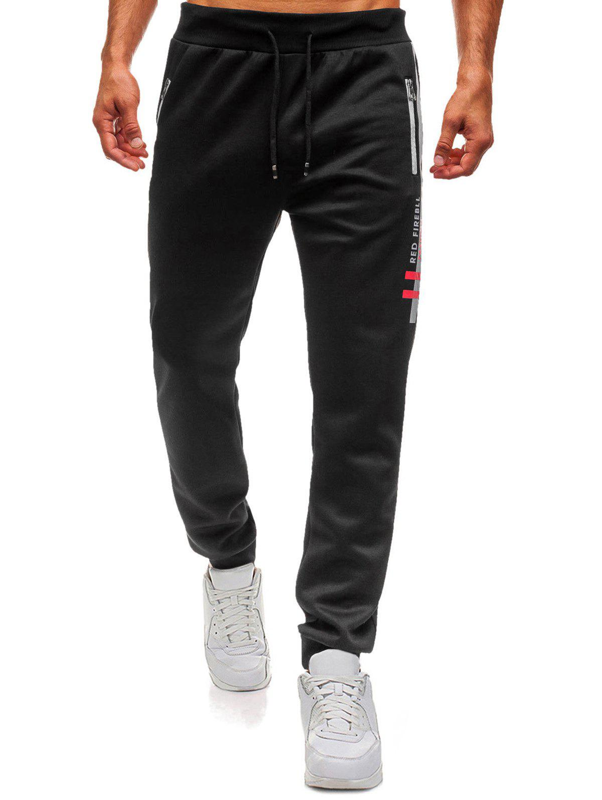Letter Graphic Contrast Color Drawstring Jogger Pants - BLACK XL