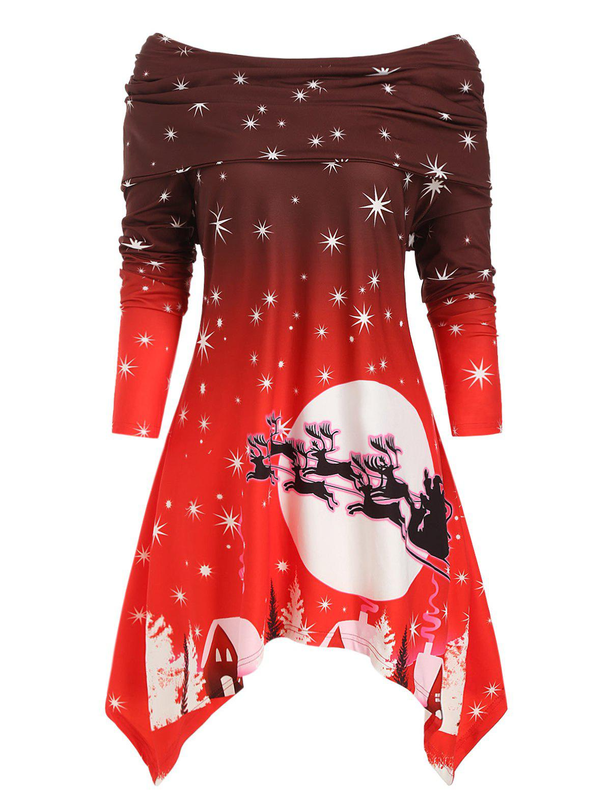 Plus Size Off The Shoulder Foldover Printed Christmas Dress - RED 3X