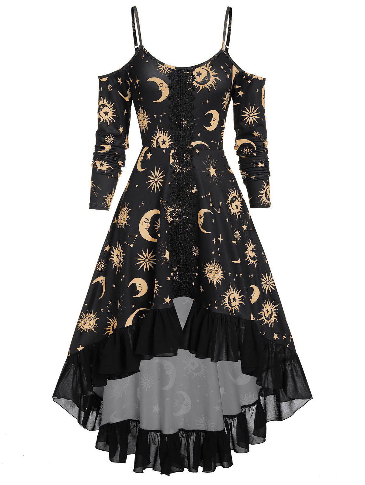 High Low Cold Shoulder Flounce Sun and Moon Print Gothic Dress - BRONZE 2XL