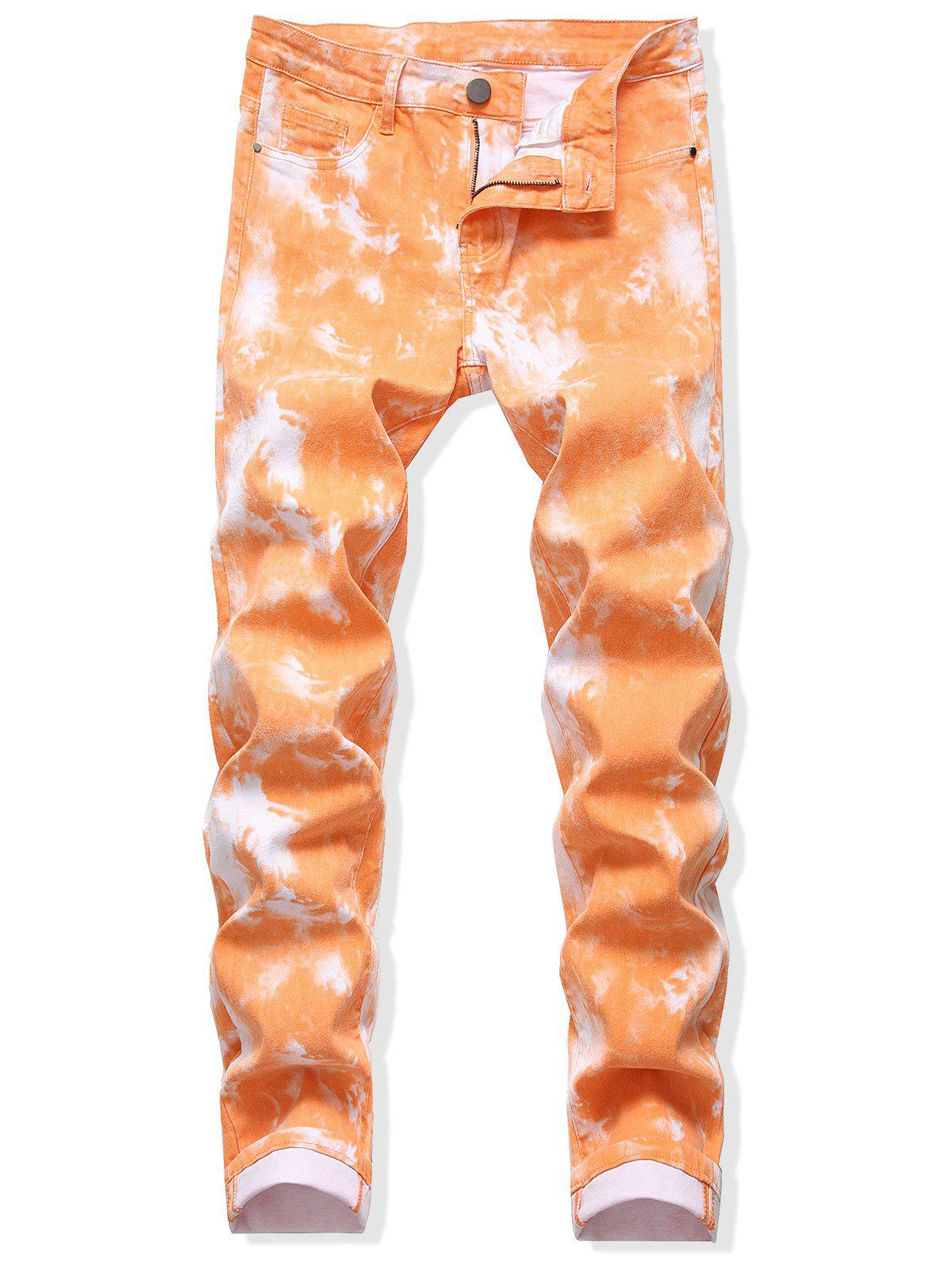Tie Dye Zip Fly Long Jeans - LIGHT SALMON 36