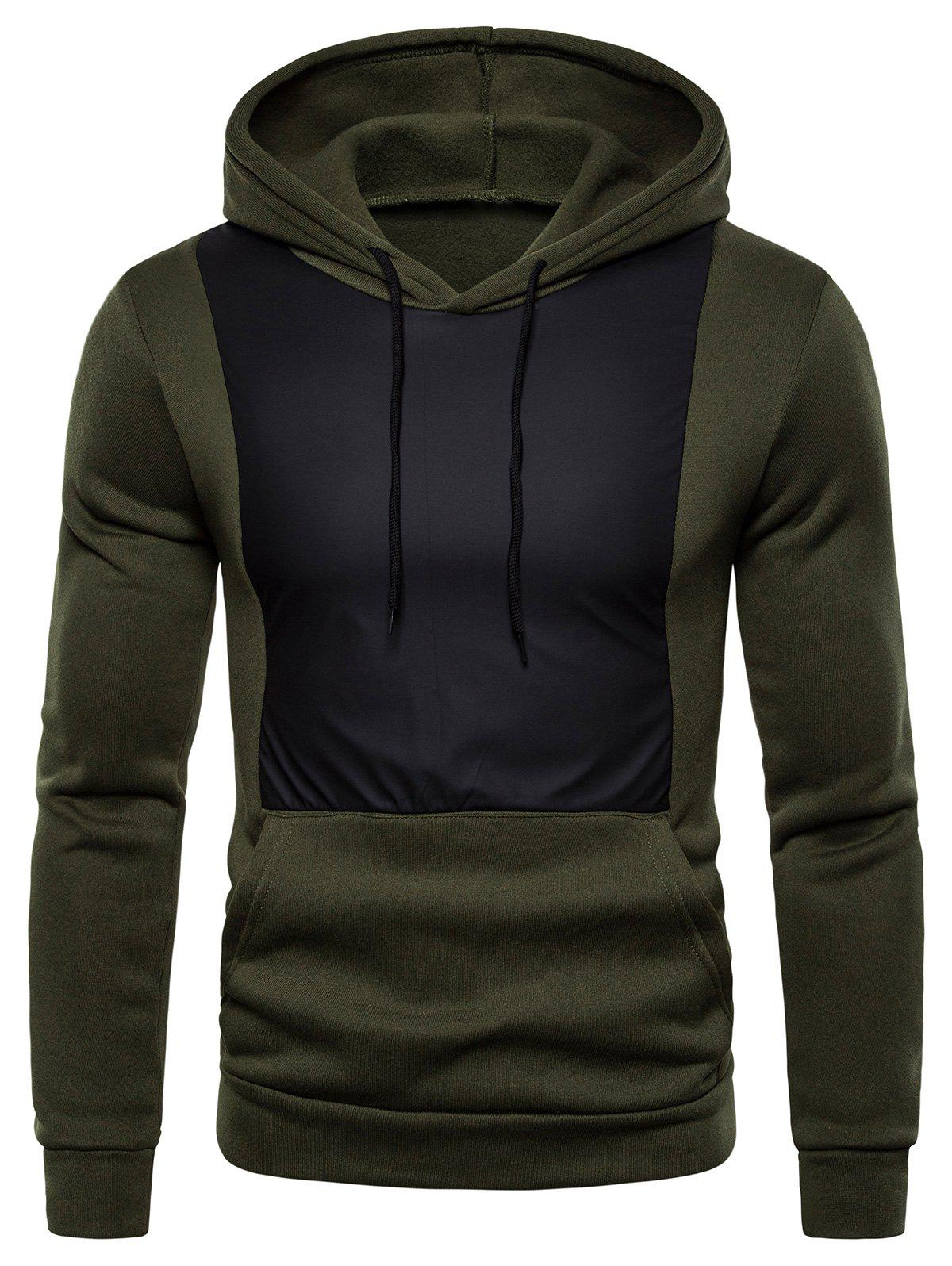 Color Spliced Design Hoodie - ARMY GREEN 3XL