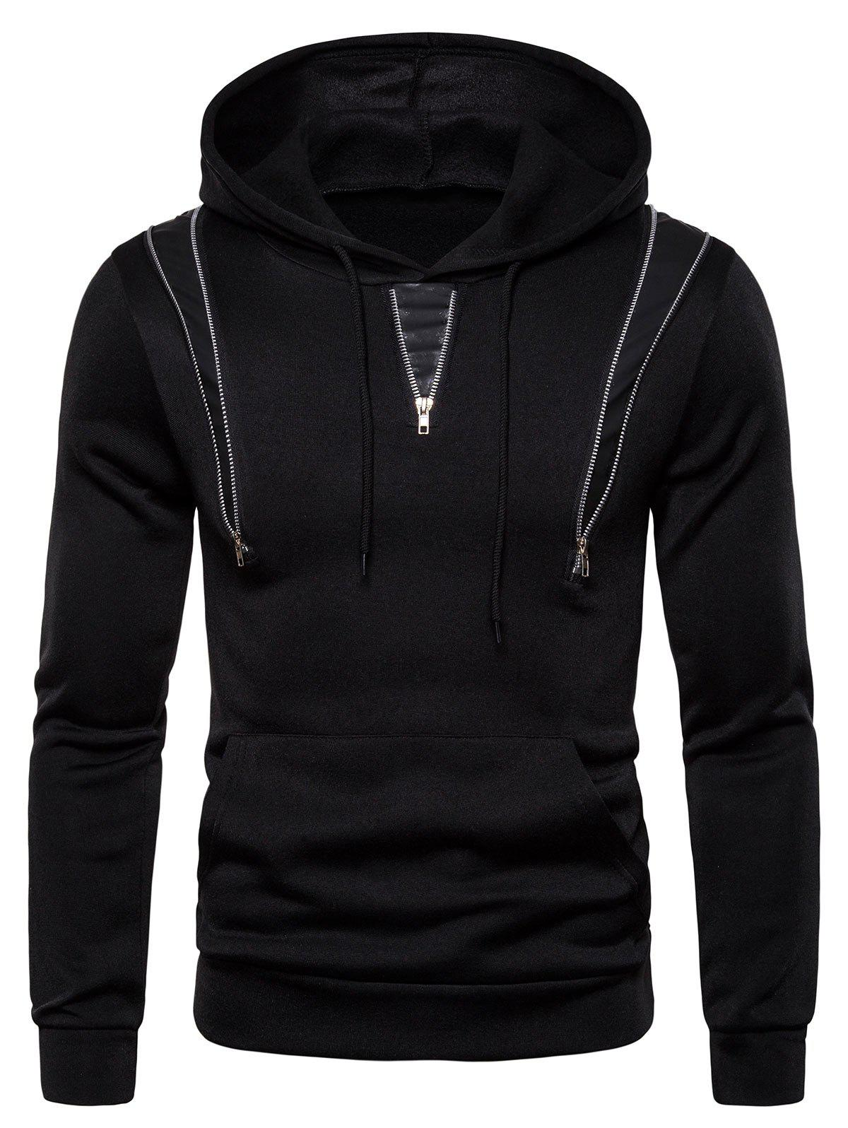 Zipper Decorated Color Spliced Casual Hoodie - BLACK XL