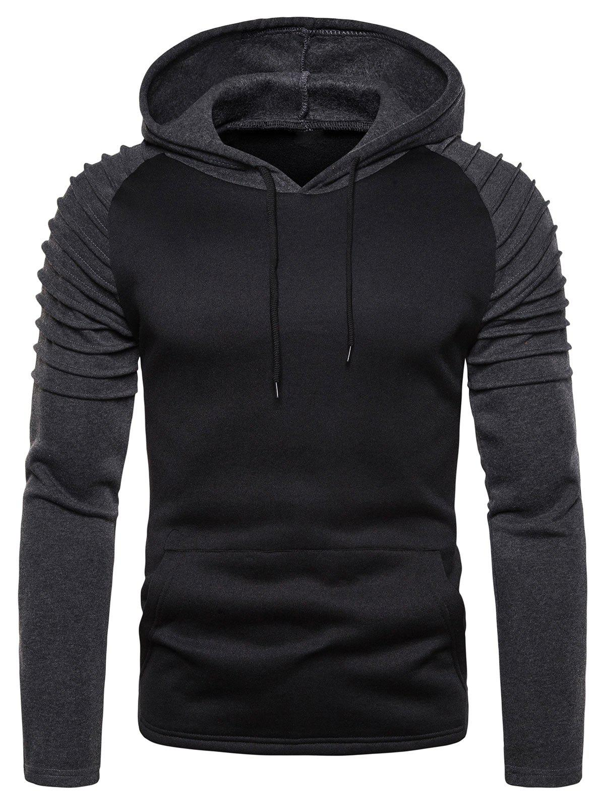Color Spliced Ruffle Hoodie - BLACK L