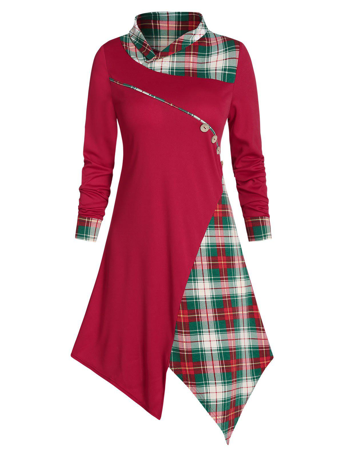 Plaid Buttons Asymmetric Midi Dress - RED WINE 2XL